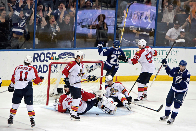Marty St. Lous celebrates his goal during the final game of the 2012-2013 season against the Florida Panthers which captured for him the Points leadership for the season with 60.