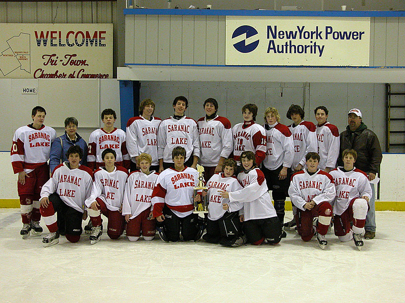 Saranac Lake Bantams with their First Place trophy - Tri-Town Invitational Tournament