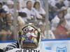 John Curry's hair sticking out of his helmet in Game 1