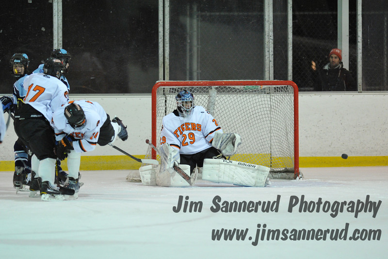 Chris Stangarone #29 was named Section 1 player of the week after stopping 38 Mounties shots in the Tigers victory. White Plains High School Tigers varsity ice hockey team upset the defending NY State champion Suffern Mounties 3-2 in overtime at Ebersole Ice Rink on Thursday, December 6, 2012