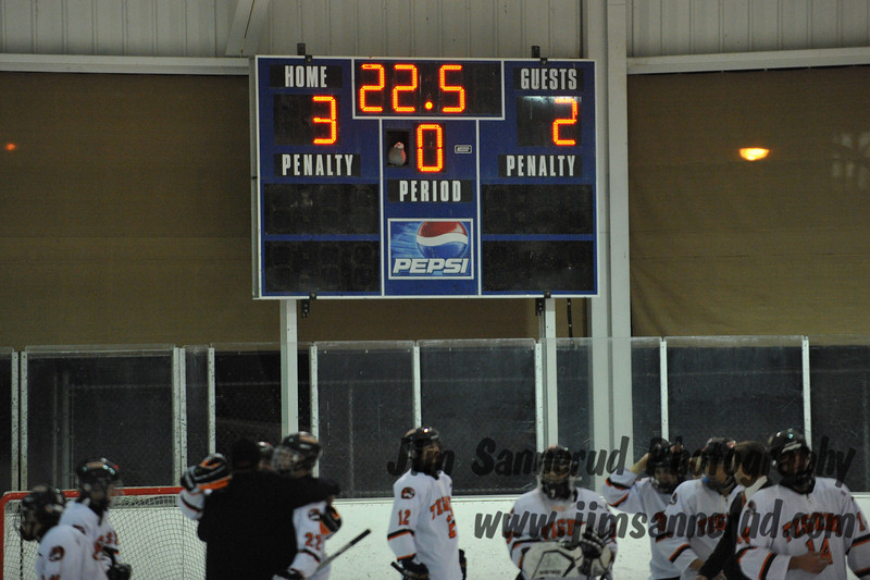 Final score as Tigers celebrate their victory. White Plains High School Tigers varsity ice hockey team upset the defending NY State champion Suffern Mounties 3-2 in overtime at Ebersole Ice Rink on Thursday, December 6, 2012