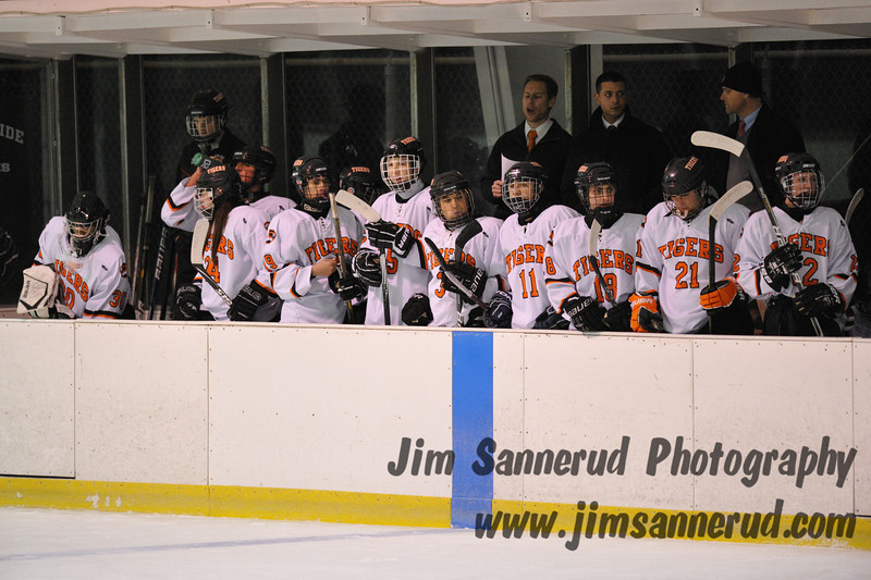 White Plains High School Tigers varsity ice hockey team upset the defending NY State champion Suffern Mounties 3-2 in overtime at Ebersole Ice Rink on Thursday, December 6, 2012