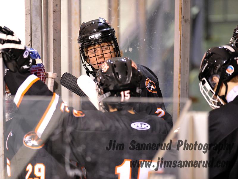 Senior Tom Bertram, #2. White Plains High School Tigers vs. Mamaroneck Tigers Varsity Ice Hockey at Hommocks Park Ice Rink, Friday, December 21, 2012, White Plains lost 3-1