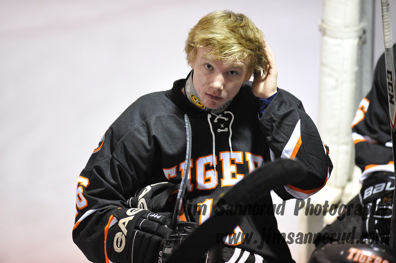 Liam Broderick between periods. White Plains High School Tigers vs. Mamaroneck Tigers Varsity Ice Hockey at Hommocks Park Ice Rink, Friday, December 21, 2012, White Plains lost 3-1