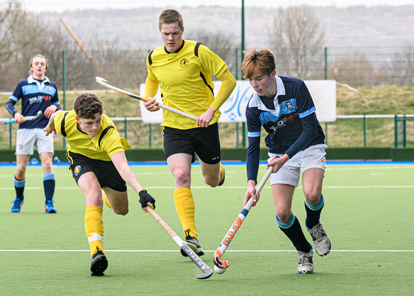 13 March 2020 at the National Hockey Centre, Glasgow Green.  Scottish Hockey Senior Schools Finals - Senior Boys Plate - Bellahouston/GSOS v Glenalmond College