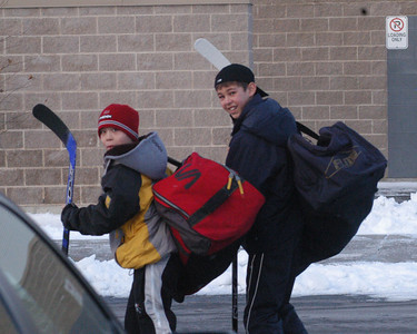 Nick and Matthew arrives for the 9 AM game