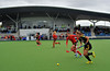 1 May 2014. Champions Challenge 1 Hockey Tournament at the National Hockey Centre, Glasgow Green.<br /> Quarter final - Belgium v Spain