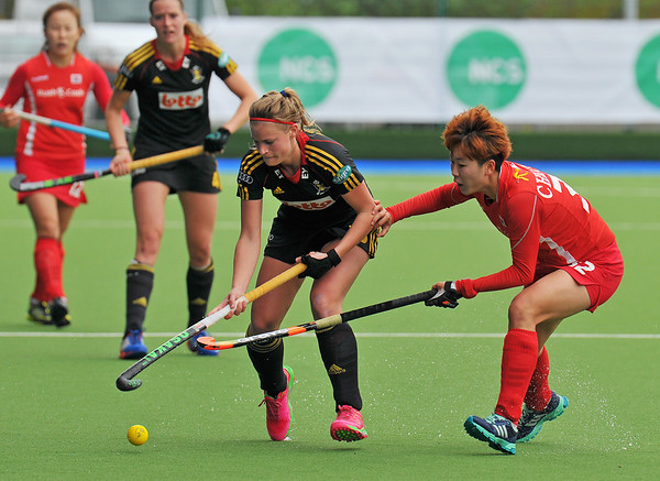 4 May 2014. 5/6th Classification Match from the Champions Challenge 1 Hockey Tournament at the National Hockey Centre, Glasgow Green.<br /> <br /> Belgium v Korea