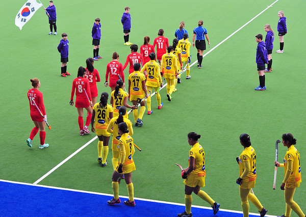 27 April 2014. Champions Challenge 1 Hockey Tournament at the National Hockey Centre, Glasgow Green.<br /> S Korea v India