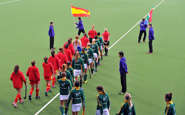 30 April 2014. Champions Challenge 1 Hockey Tournament At the National Hockey Centre, Glasgow Green.<br /> <br /> South Africa v Spain