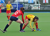 27 April 2014. Champions Challenge 1 Hockey Tournament At the National Hockey Centre, Glasgow Green.<br /> USA v Spain
