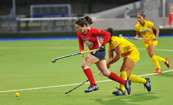 1 May 2014. Champions Challenge 1 Hockey Tournament At the National Hockey Centre, Glasgow Green.<br /> <br /> Quarter final - USA v India