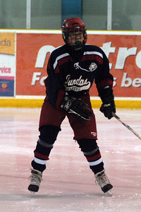 Ross in his warm-up in Dundas's Dec 28 opening game vs Applewood from Mississauga.  The game was fast-paced with great chances on both sides.  Dundas fought back from an early 0-2 deficit to tie it.