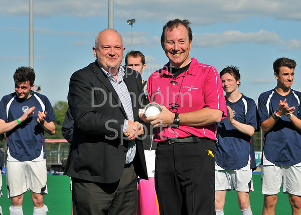 25 May 2013, Peffermill, Edinburgh. Scottish Hockey Cup Final (men)<br /> Presentation to umpire John Heron