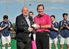 25 May 2013, Peffermill, Edinburgh. Scottish Hockey Cup Final (men)<br /> Presentation to umpire John Heron