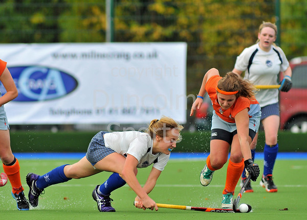Clydesdale Western v Grove Menzieshill. A National League Division 1 match at the National Hockey Centre, Glasgow Green, on 19 October 2013.