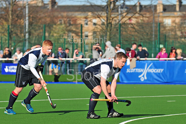 18 April 2015. National Hockey Centre, Glasgow Green.<br /> Men's Scottish Cup Final - Grange v Edinburgh University