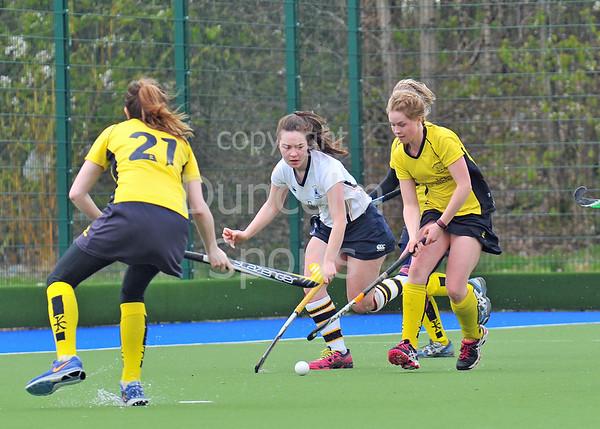 19 April 2015. National Hockey Centre, Glasgow Green<br /> Women's District Plate Final: CALA Edinburgh III v AAM Merlins Gordonians II