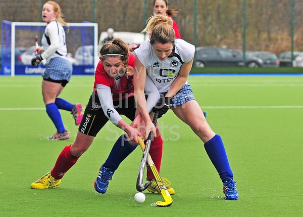 29 March 2015. National Hockey Centre, Glasgow Green. The semi-final of the Scottish Women's Cup.  Grove Menzieshill v Edinburgh University.