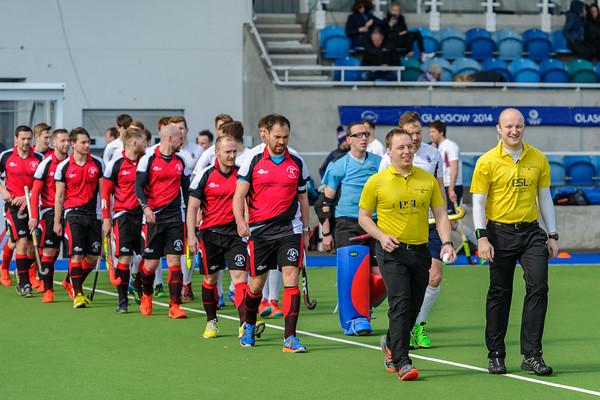 13 April 2019 at the National Hockey Centre, Glasgow Green. Scottish Hockey Grand Finals day.<br /> Men's relegation/promotion match – Watsonians v Dunfermline Carnegie