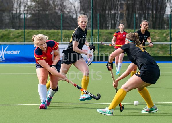 13 April 2019 at the National Hockey Centre, Glasgow Green. Scottish Hockey Grand Finals day.<br /> Women's relegation/promotion match – Glasgow University v Erskine Stewarts Melville
