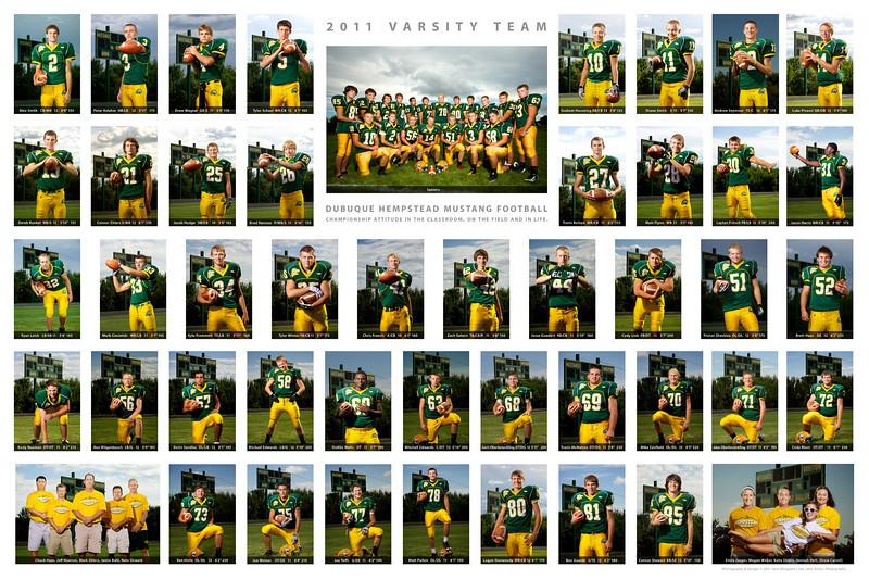 """2011 Mustang Football varsity team 20x30"""" print."""