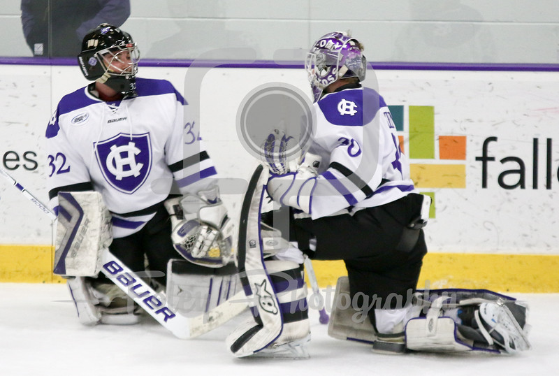 Holy Cross goalies Jack Kenney and Jack Parsons