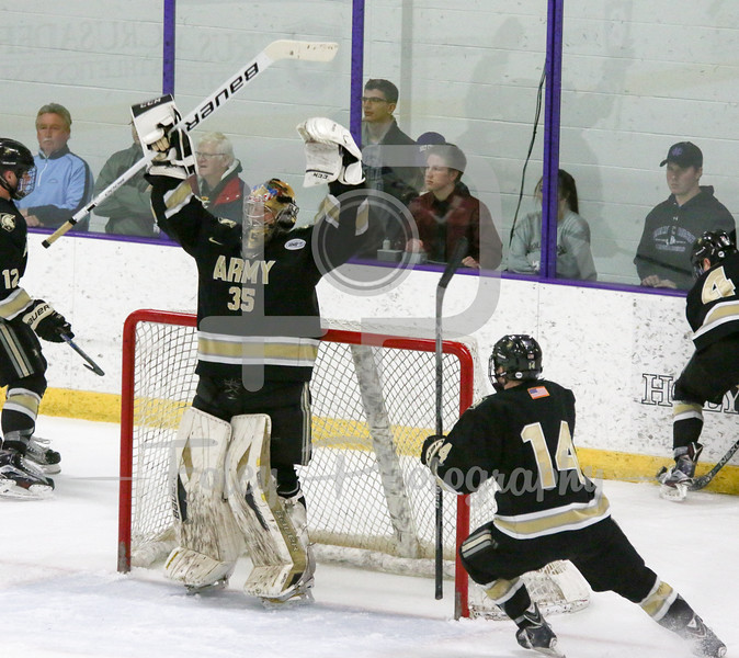 Army's Parker Gahagen (35) celebrates the win
