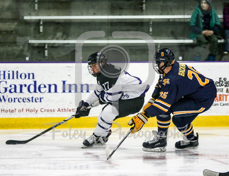 Holy Cross Crusaders forward T.J. Moore (17) Canisius Golden Griffins Mathew Backhouse (25)