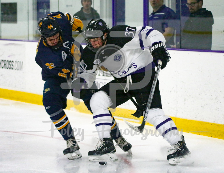 Holy Cross Crusaders forward Brett Mulcahy (37) Canisius Golden Griffins defenseman Alex Jaeckle (44)
