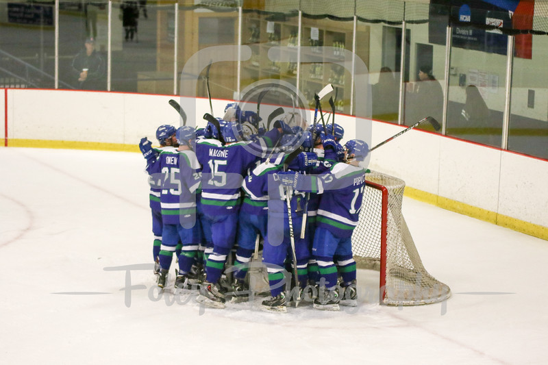 Salve Regina celebrates a playoff win