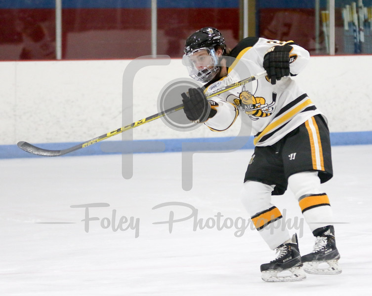 Tuesday, January 5, 2016; Springfield, Massachusetts;  during a game between the American International Yellow Jackets and the Holy Cross Crusaders. The Crusaders picked up a 2-0 victory at Olympia Ice Rink.