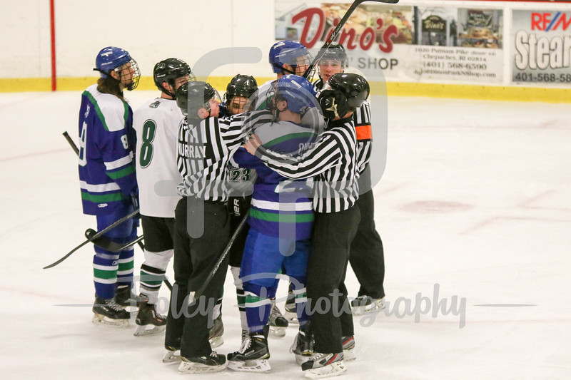 Salve Regina and Nichols players push after the whistle