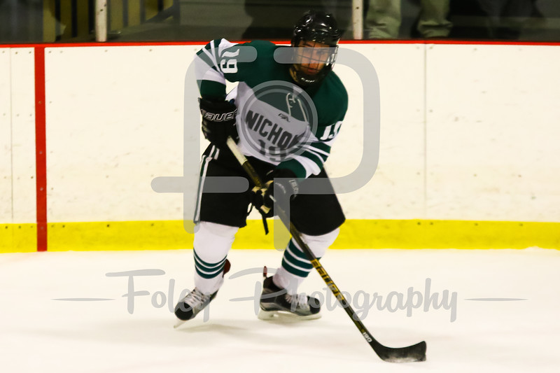 Nichols College forward Vincent Crivello (19)