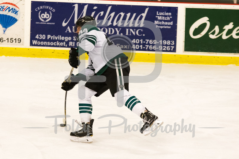 Nichols College defenseman D.J. Goldstein (44)