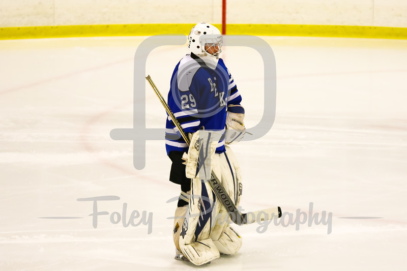 Becker College goalie Tyler Stepke (29)