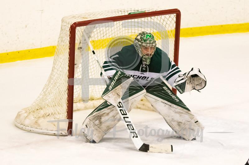 Nichols College goalie Colin Brennan (1)