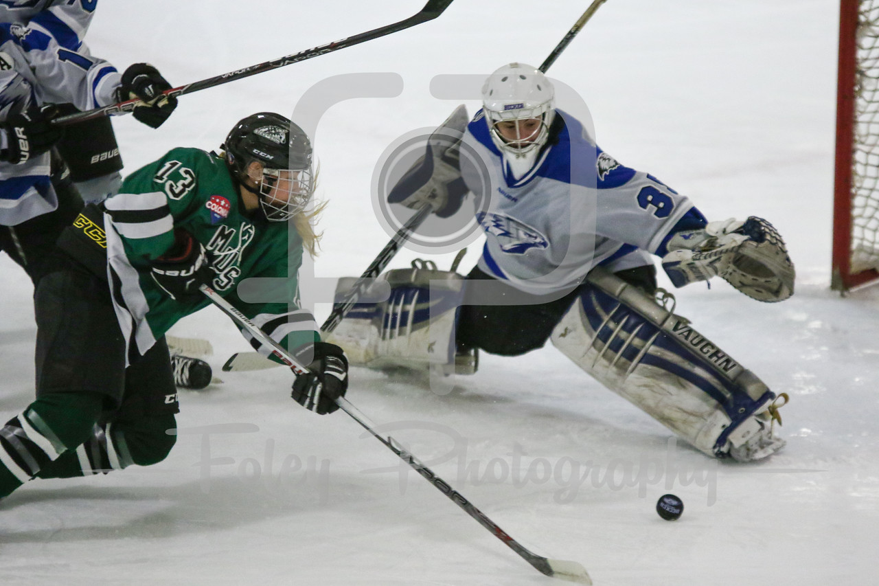 Stevenson University Mustangs Monica Pozuc (13) Becker College Hawks goalie Julia Johnson (35)