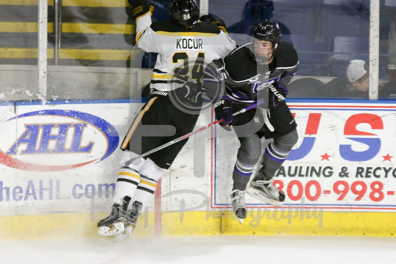 Holy Cross Crusaders defenseman Charlie Barrow (15) American International Yellow Jackets forward Joel Kocur (24)
