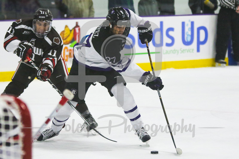 Holy Cross Crusaders forward Danny Lopez (27) Brown Bears defenseman Max Gottlieb (11)