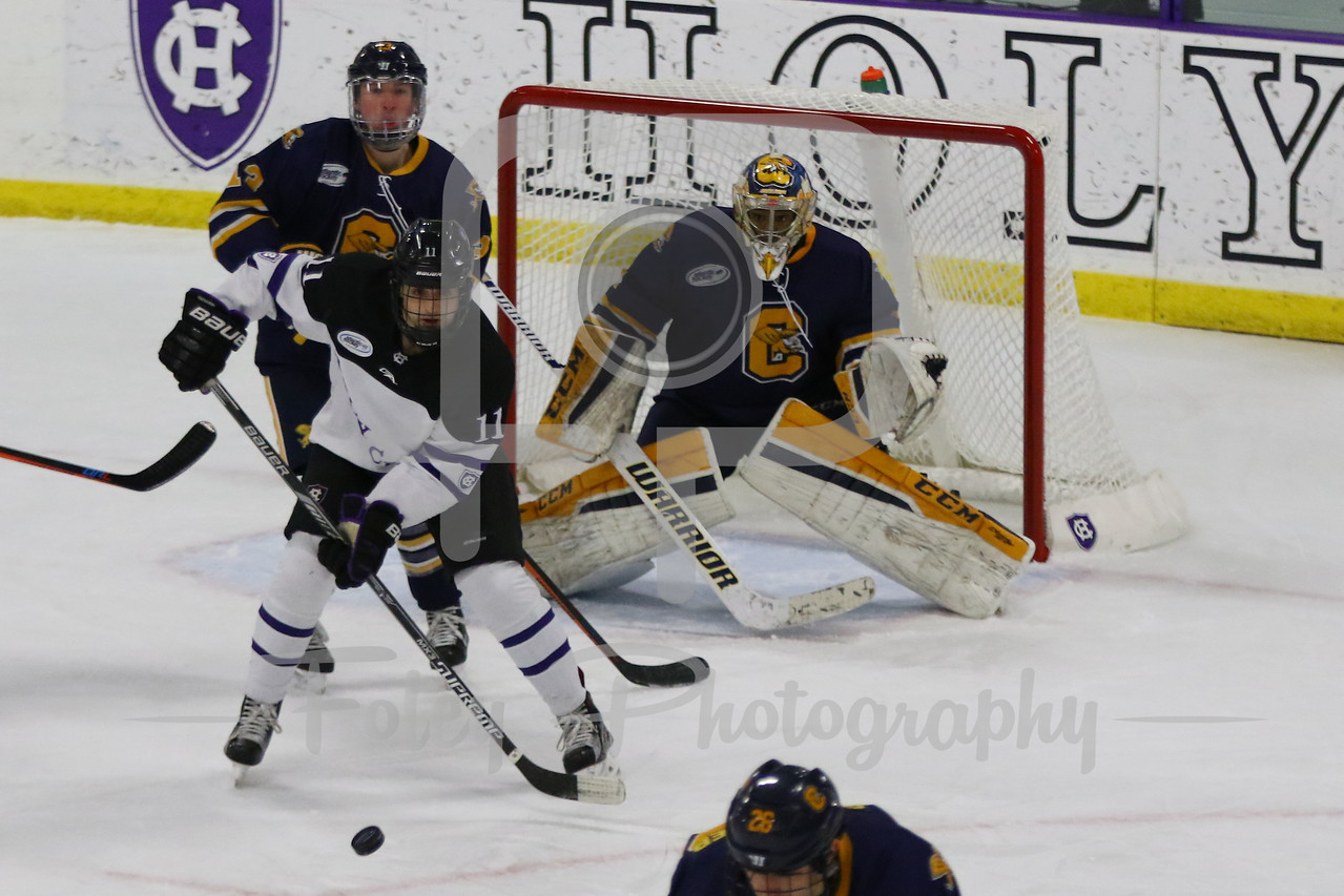 Canisius Golden Griffins goalie Charles Williams (1) Holy Cross Crusaders forward Michael Laffin (11)