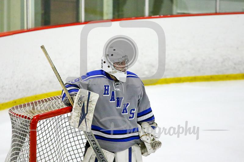 Becker College Hawks goalie Tyler Stepke (29)