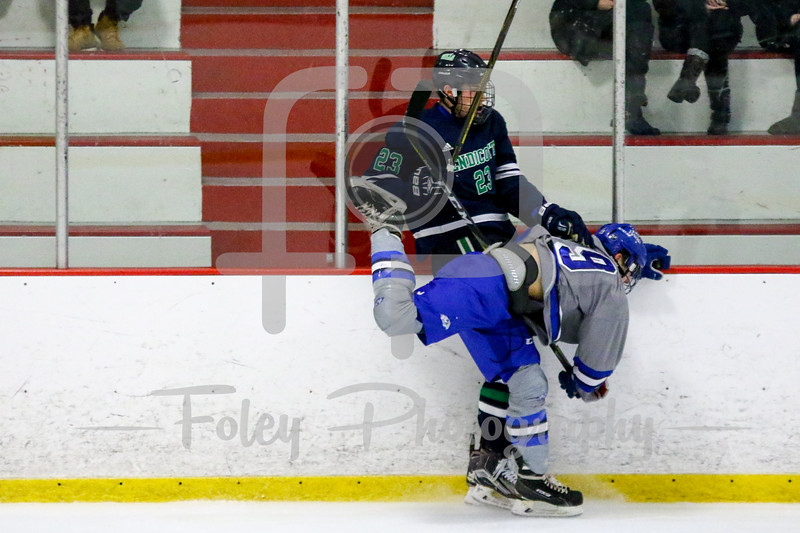 Becker College Hawks forward Connor Jones (19) Endicott College Gulls forward Ross Olsson (23)