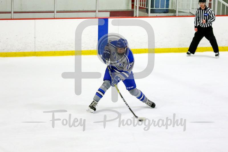 Becker College Hawks defenseman Dylan Durham (17)