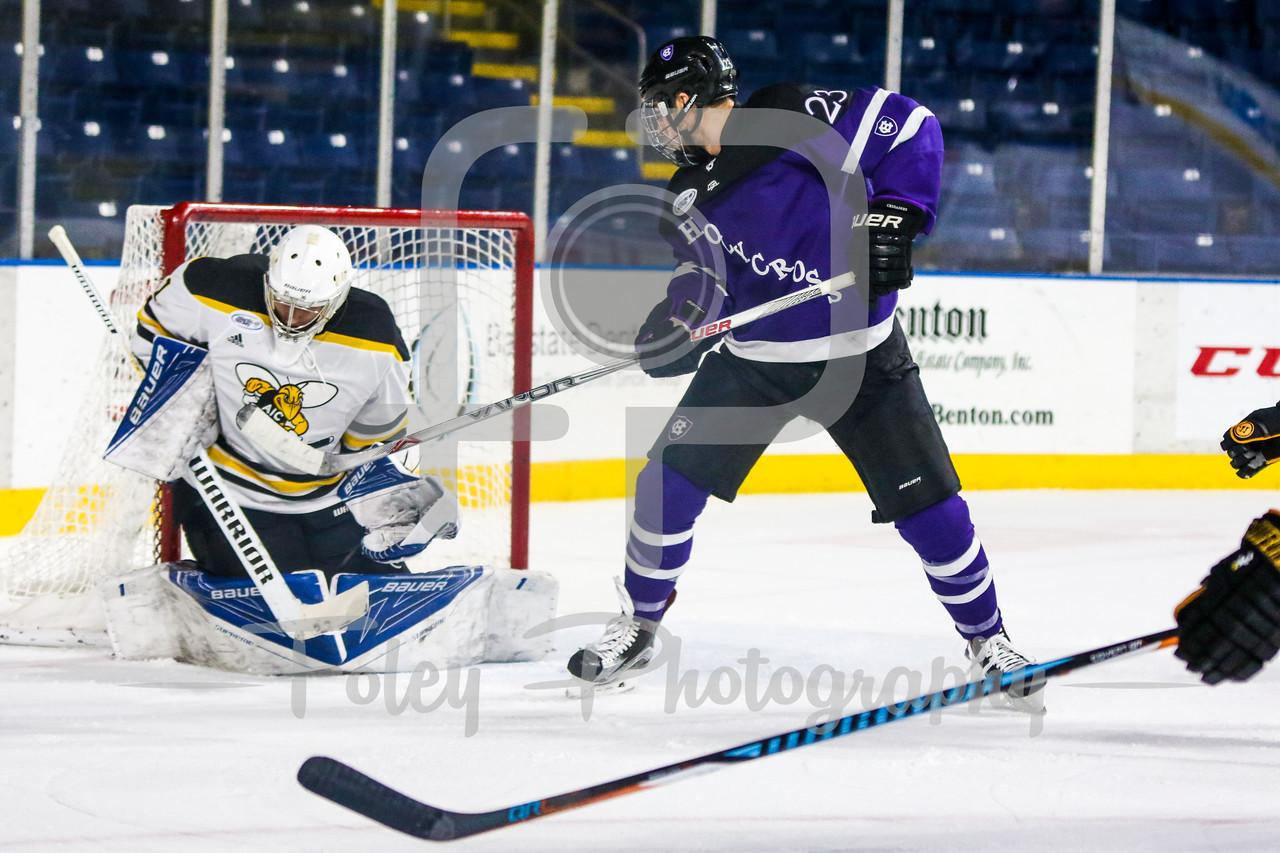 Holy Cross Crusaders forward Ryan Ferrill (23) American International Yellow Jackets goalie Zackarias Skog (1)