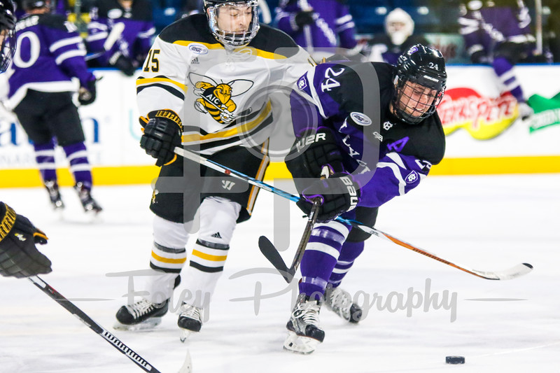 Holy Cross Crusaders defenseman Tommy Muratore (24) American International Yellow Jackets forward Jackson Dudley (15)