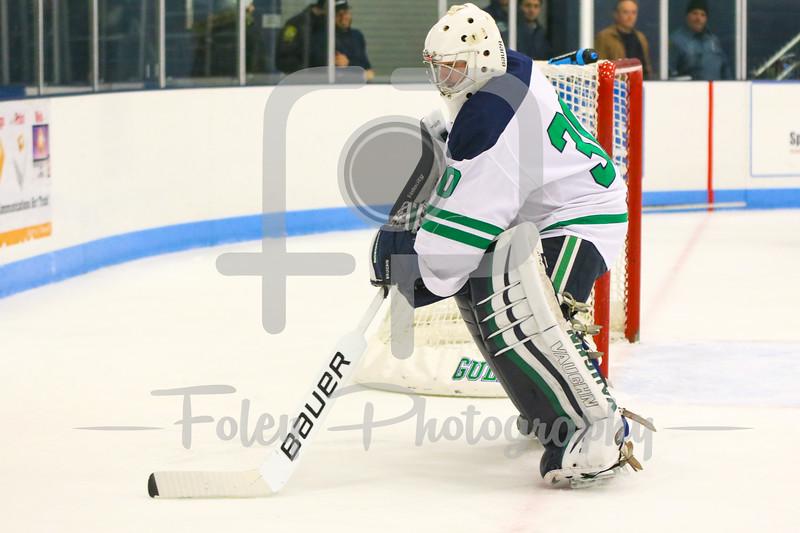 Endicott College goalie Kevin Aldridge (30)
