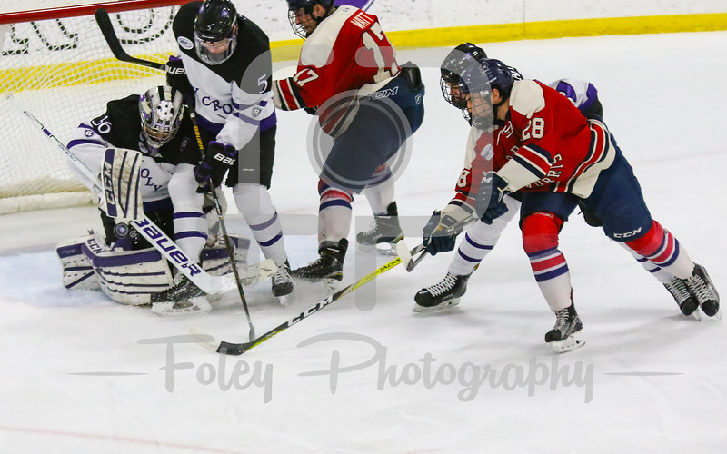 Saturday, January 28, 2017; Worcester, MA;  during the Colonials 6-0 victory over the Crusaders in Atlantic Hockey play.