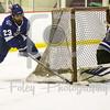 Becker College Hawks goalie Tyler Stepke (29) University of New England Nor'easters Armand Uomoleale (23)