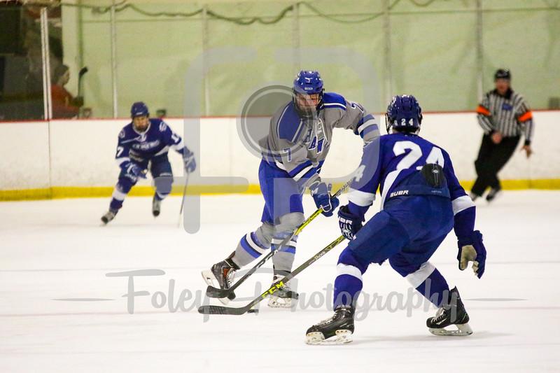 Becker College Hawks defenseman Trey McMillen (7) University of New England Nor'easters Dmitris Jones (24)